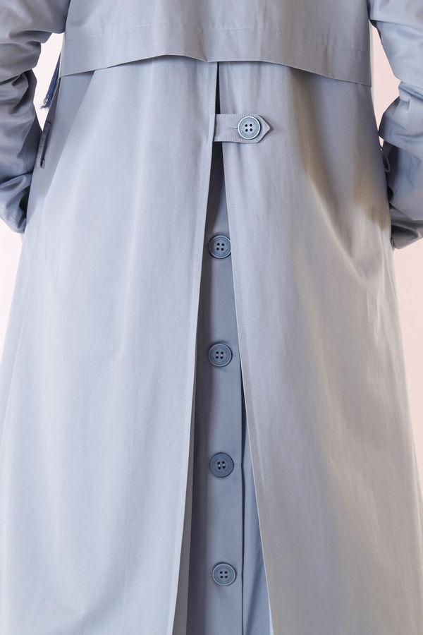 HE-QA - Arkası Düğmeli Trençkot Açık Mavi