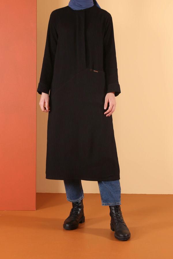 HE-QA - Asimetrik Tunik Siyah