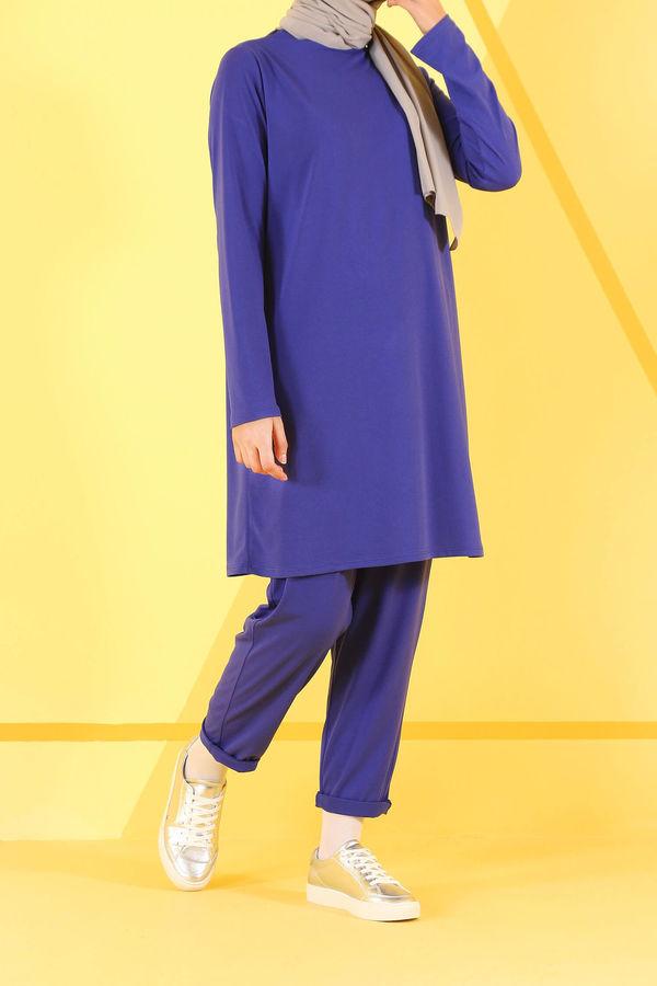 Basic Tunik Saks Uzun Kollu