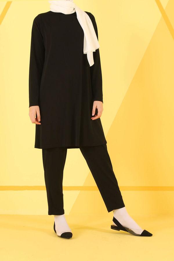 HE-QA - Basic Tunik Siyah Uzun Kollu