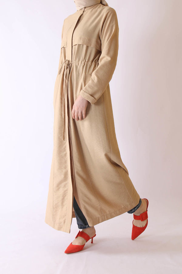 HE-QA - Beli Büzgülü Pardösü Camel