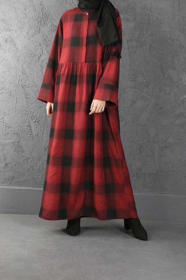 ESRA KESKİN DEMİR - Büzgü Detaylı Kareli Elbise Kırmızı