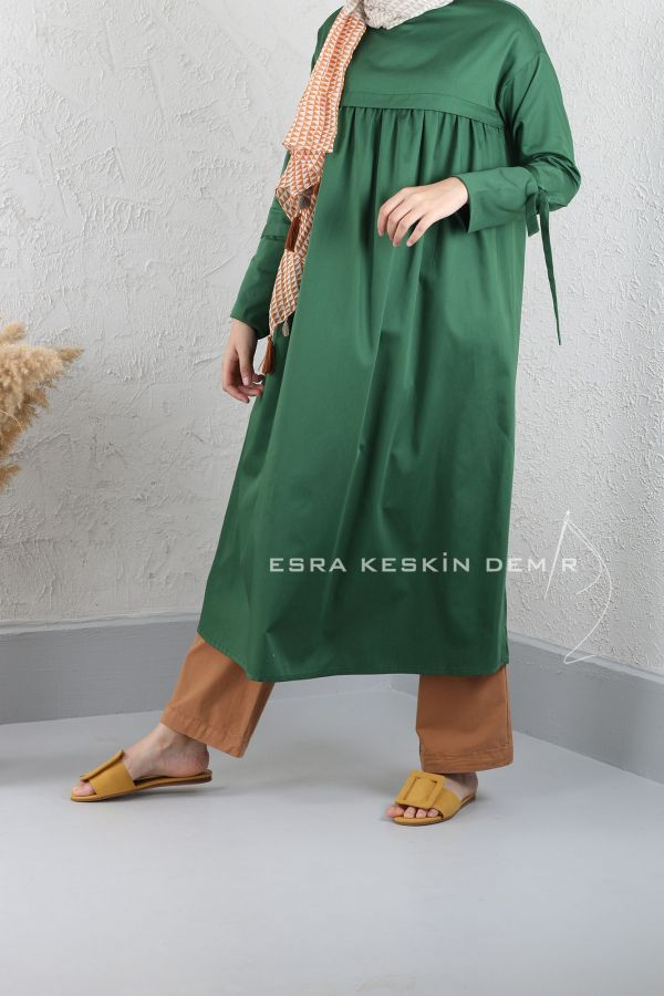 ESRA KESKİN DEMİR - Büzgülü Tunik Yeşil