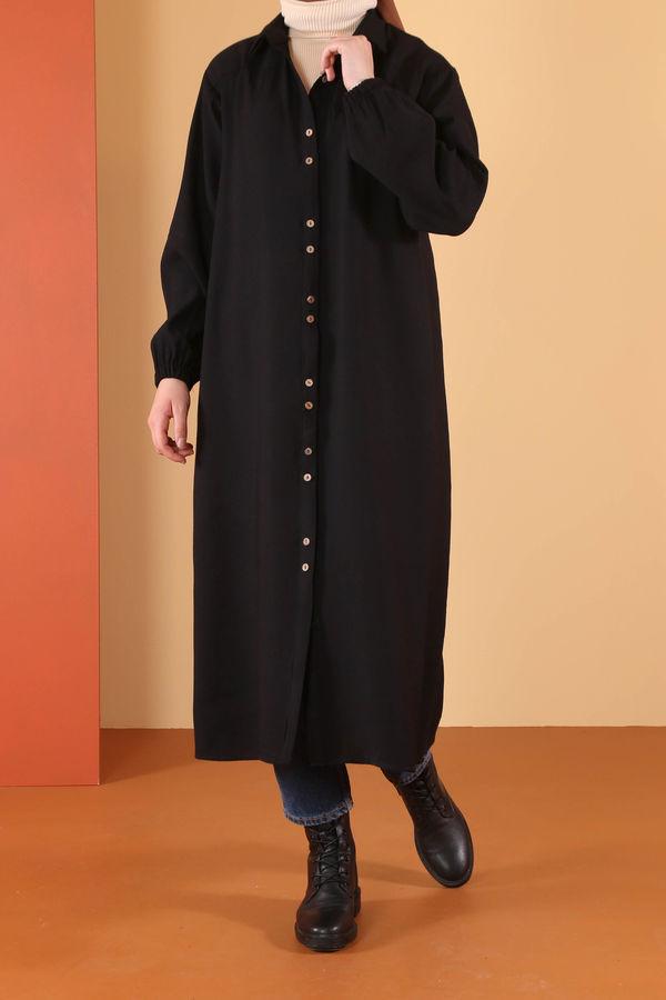 HE-QA - Çift Düğmeli Tunik Siyah