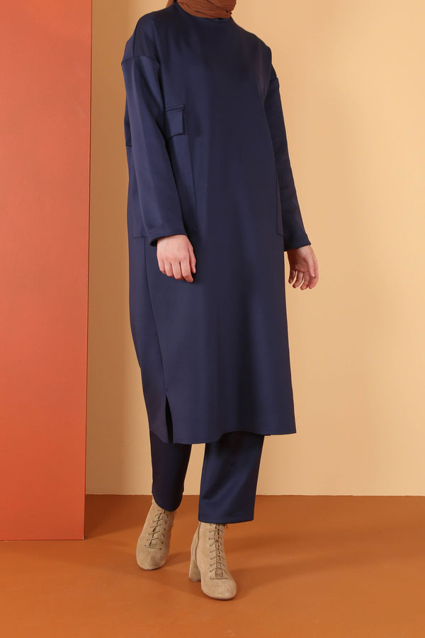 HE-QA - Dalgıç Boru Paça Pantolon Lacivert