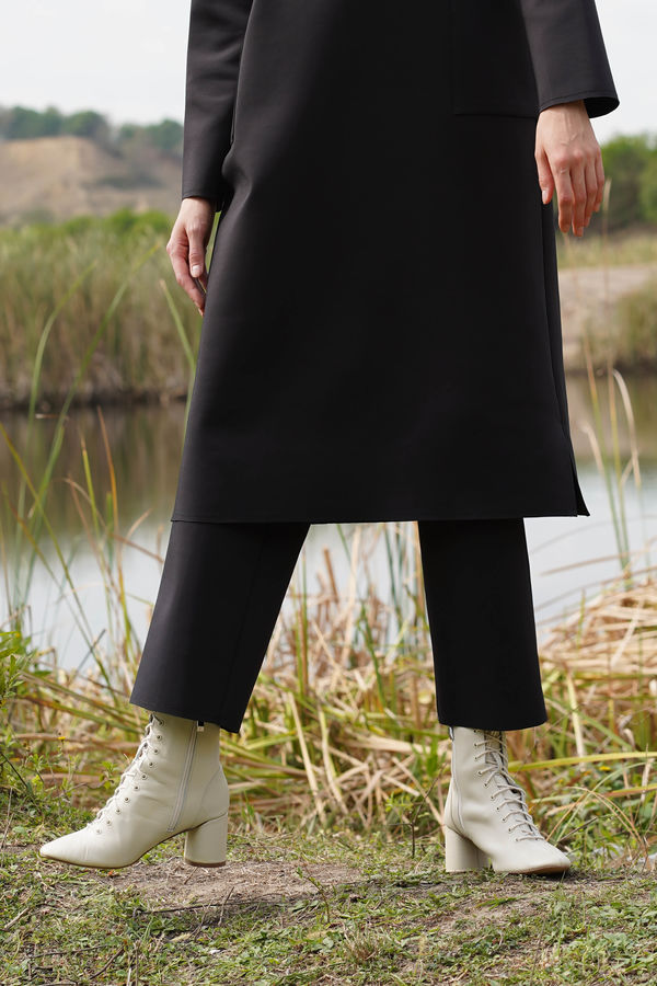 HE-QA - Dalgıç Boru Paça Pantolon Siyah