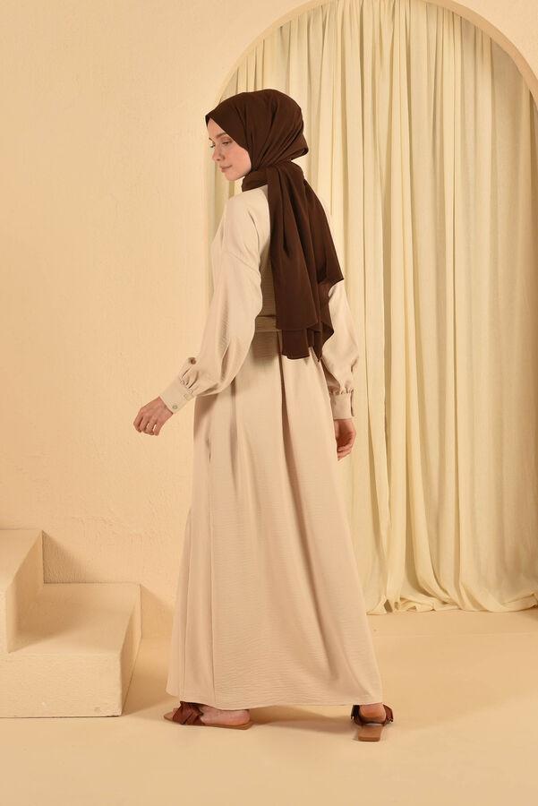 HE-QA - Eteği Büzgülü Elbise Bej (1)