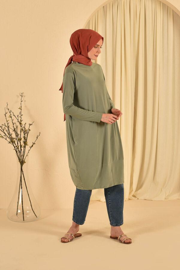 HE-QA - Eteği Pensli Tunik Yeşil