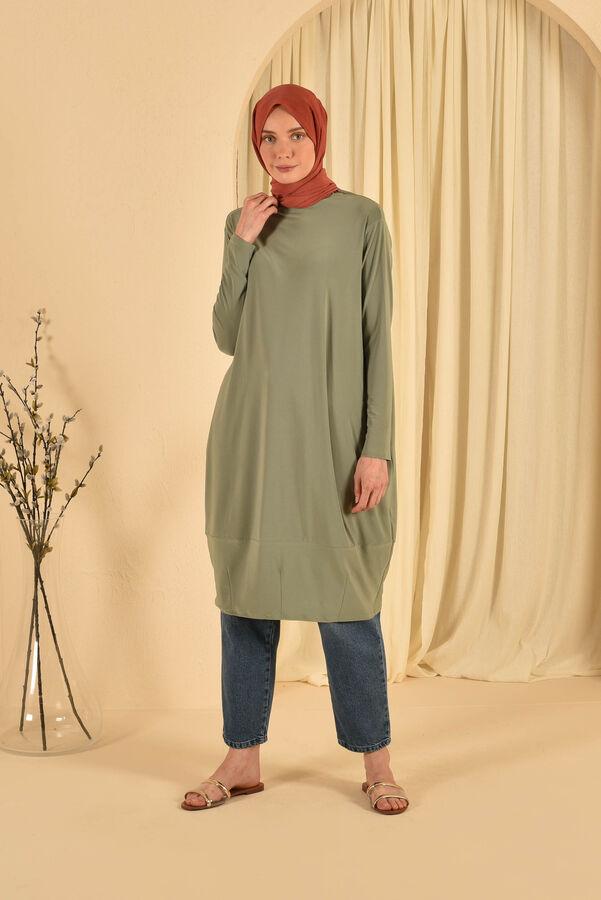 HE-QA - Eteği Pensli Tunik Yeşil (1)