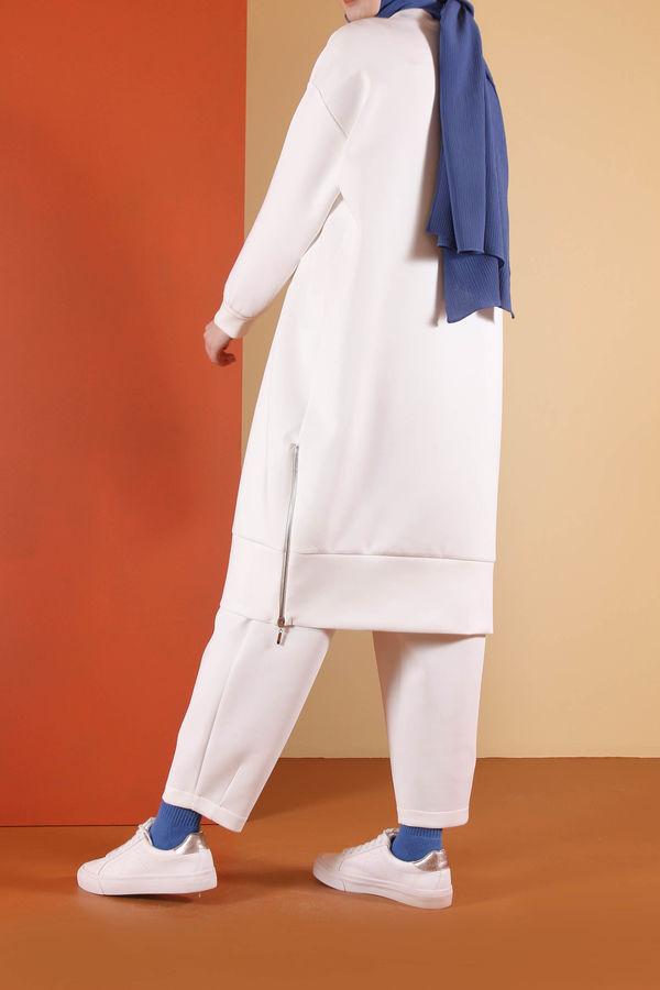 HE-QA - Fermuarlı Dalgıç Tunik Beyaz