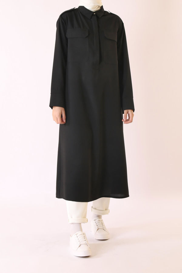 HE-QA - İki Cepli Tunik Siyah