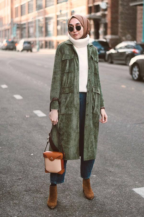HE-QA - Kadife Ceket Yeşil