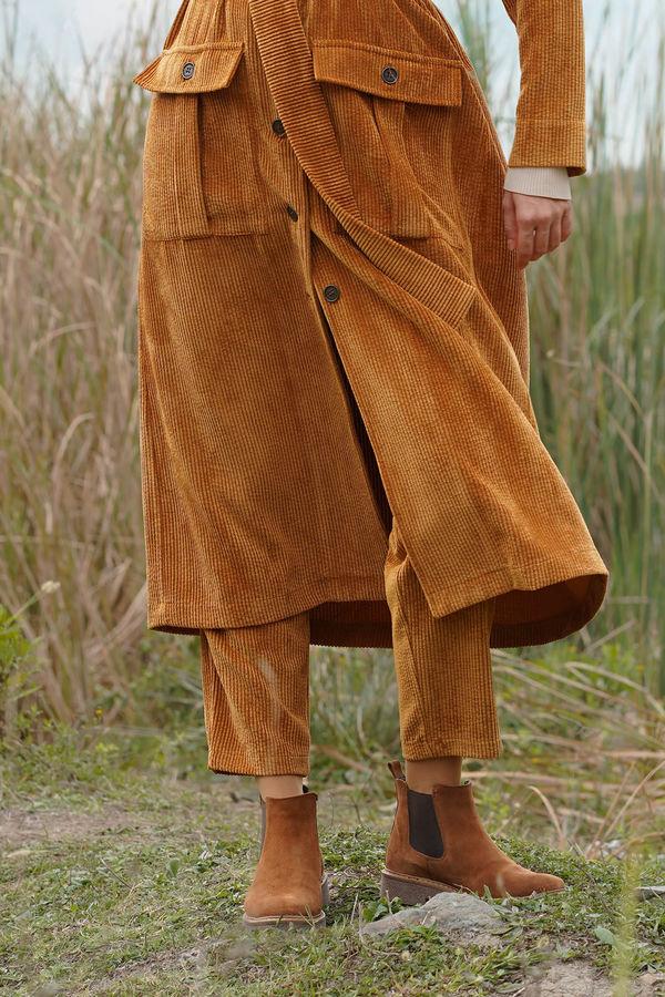 HE-QA - Kadife Pantolon Taba