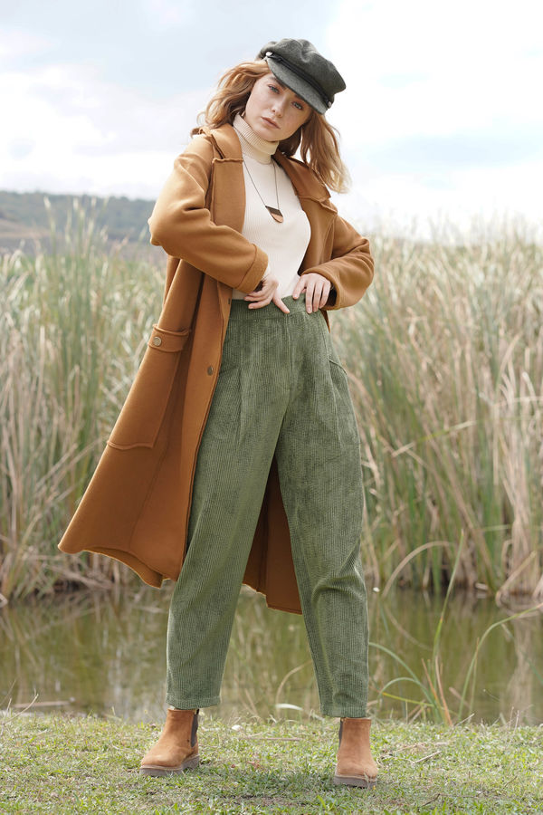 HE-QA - Kadife Pantolon Yeşil