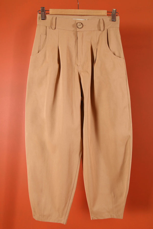 HE-QA - Kanvas Slouchy Pantolon Camel