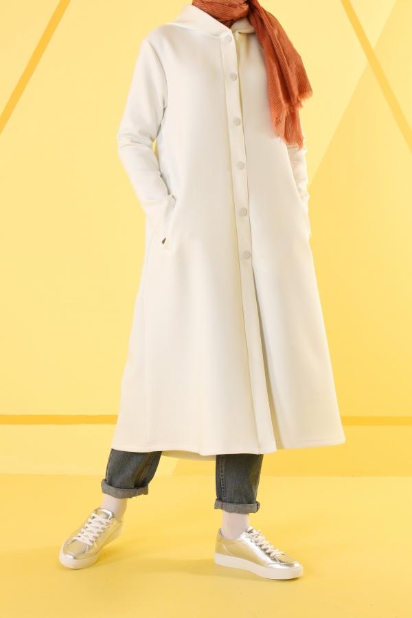 HE-QA - Kapüşonlu Dalgıç Kap Beyaz