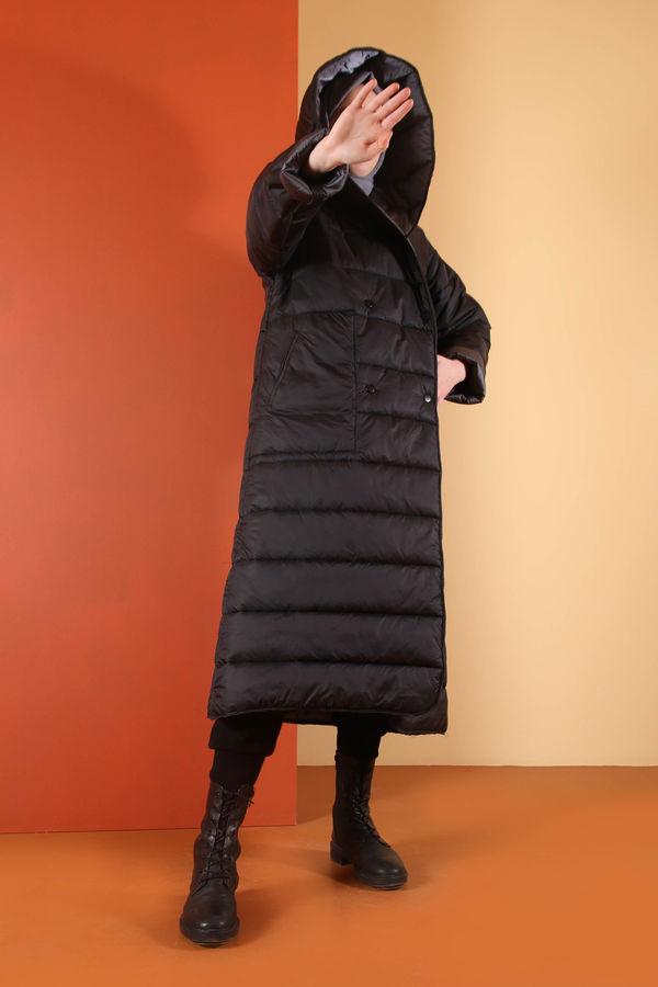 HE-QA - Kapüşonlu Şişme Mont Siyah
