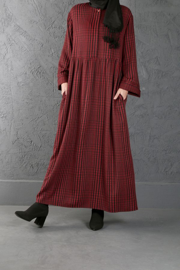 ESRA KESKİN DEMİR - Büzgü Detaylı Elbise Kırmızı