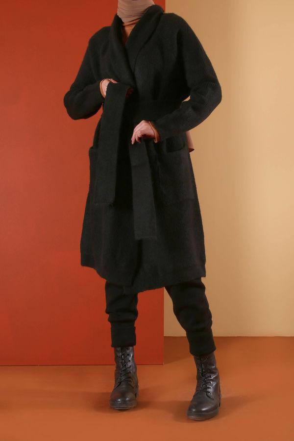HE-QA - Kuşaklı Hırka Siyah
