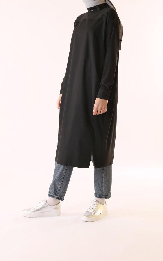 HE-QA - Poplin Detaylı Tunik Siyah