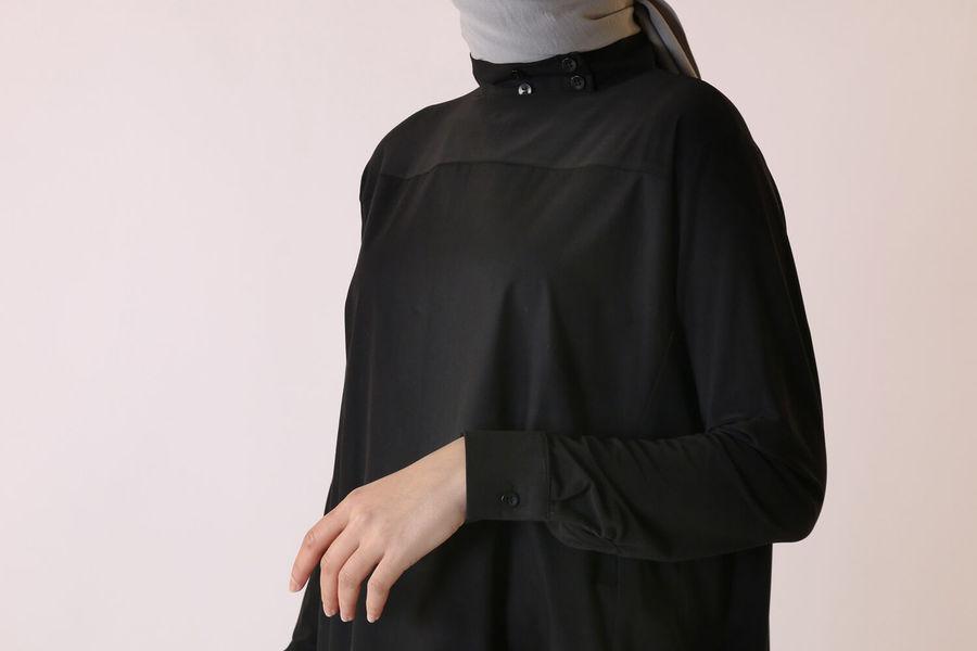 Poplin Detaylı Tunik Siyah