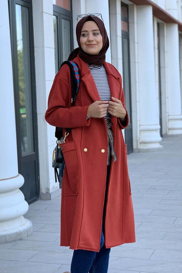 HE-QA - Şardonlu Ceket Kiremit