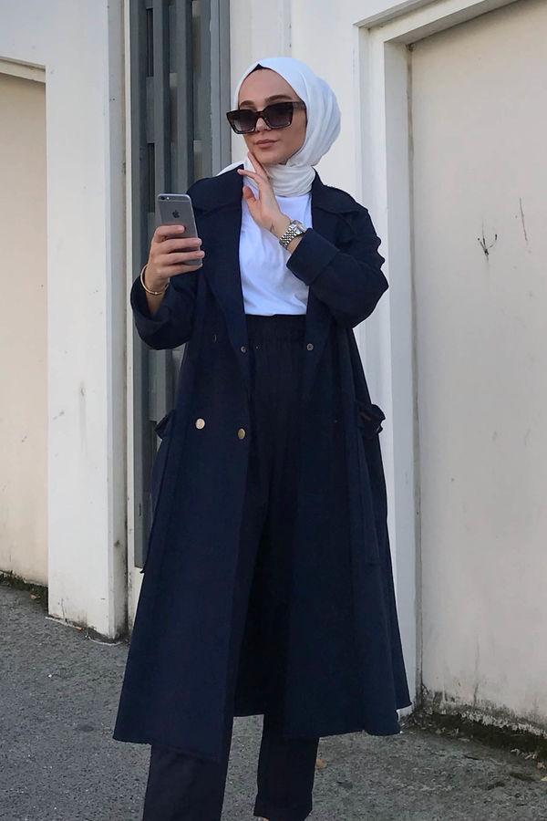 HE-QA - Şardonlu Ceket Koyu Lacivert