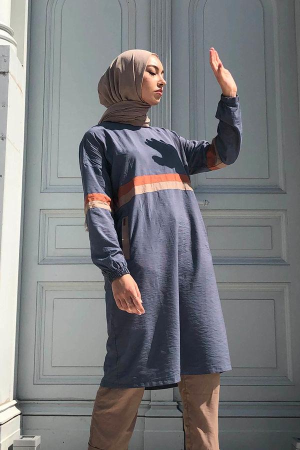 HE-QA - Şeritli Tunik Mavi