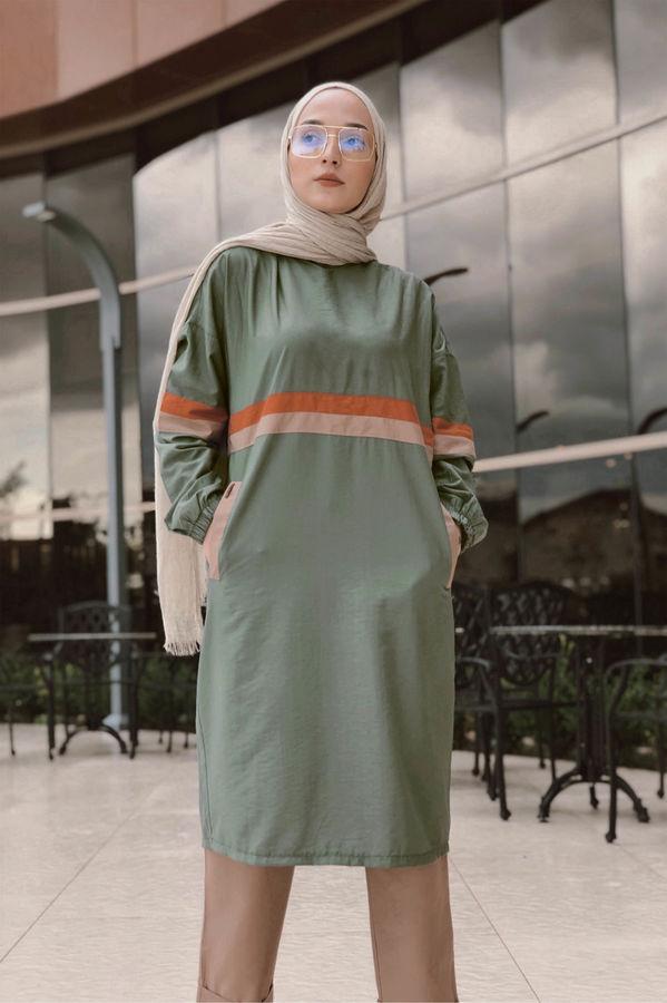 HE-QA - Şeritli Tunik Yeşil