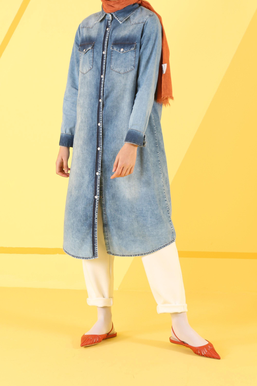 HE-QA - Taşlanmış Denim Tunik Açık Mavi