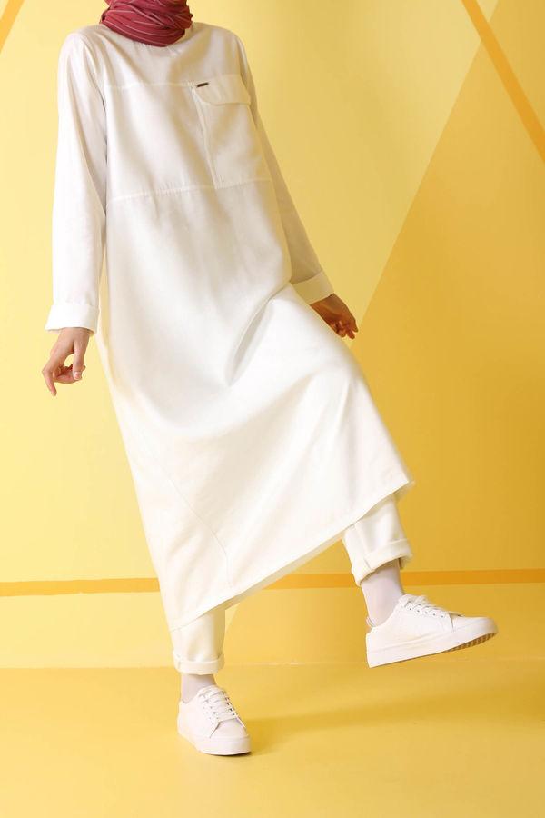 HE-QA - Tek Cepli Tunik Beyaz