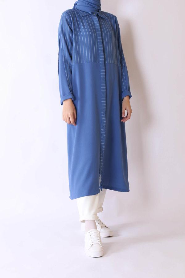 HE-QA - Kol Detaylı Tunik Gece Mavisi